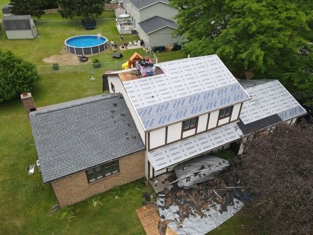 Arial view of roof replacement in Rochester, New York.