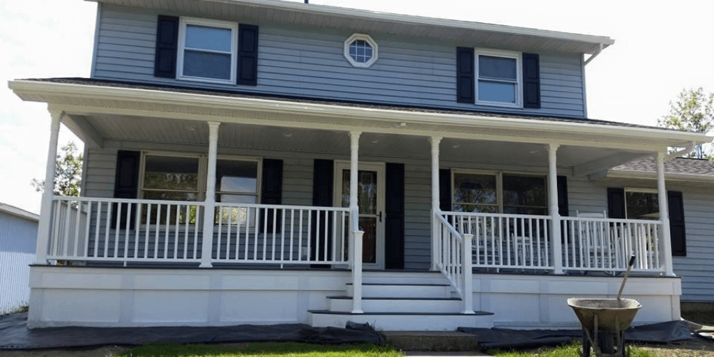 Spencerport, NY home with brand new front porch addition.