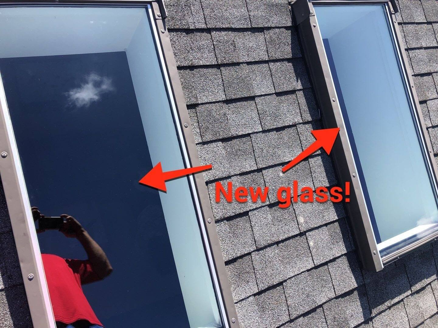 New skylight glass installation in Penfield, New York.