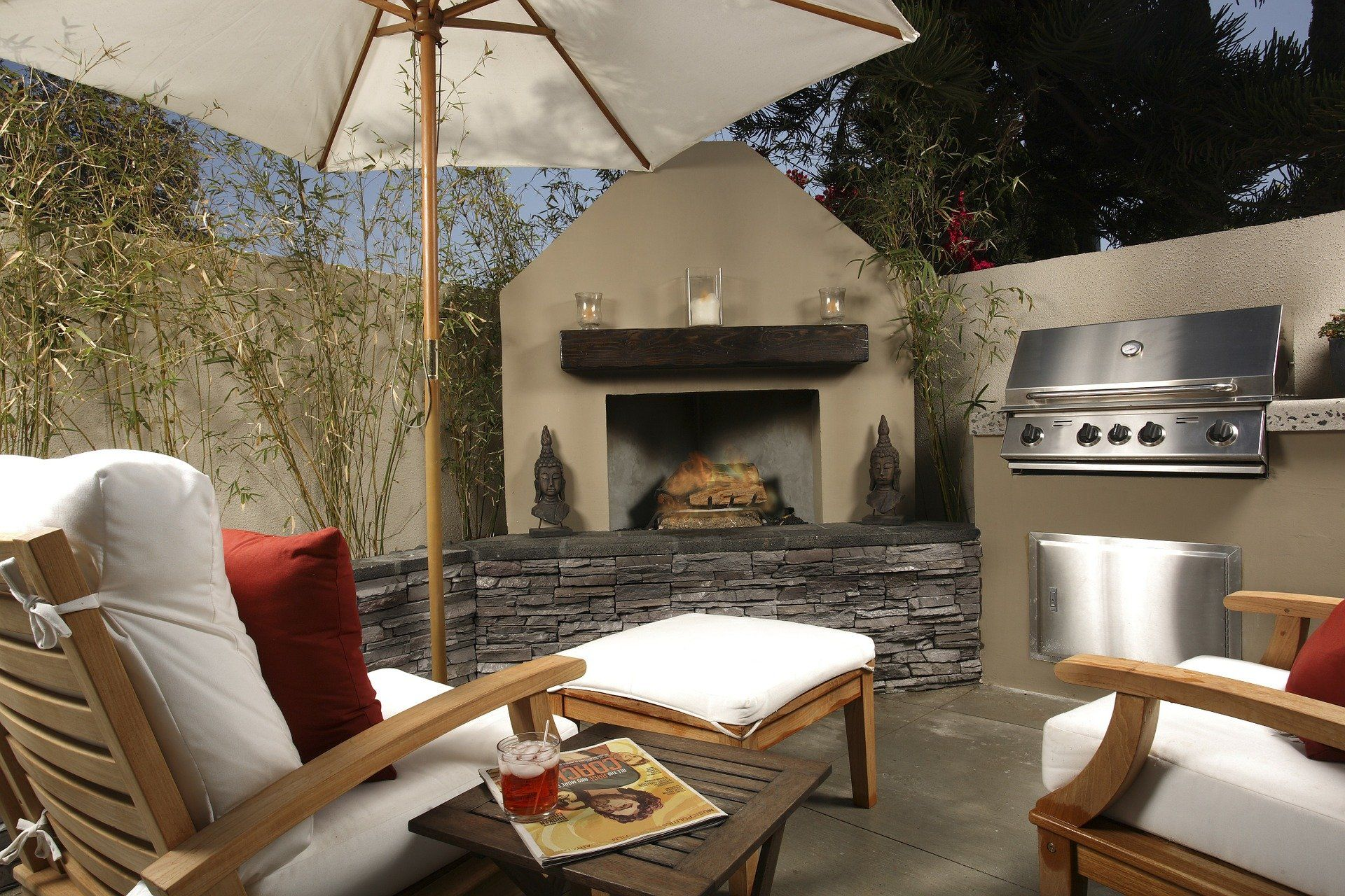 Newly remodeled outdoor fireplace and patio in Rochester, NY.